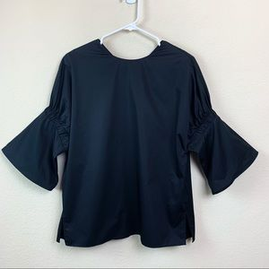 Tibi Black Bell Sleeve Drop Sleeve Blouse Peplum